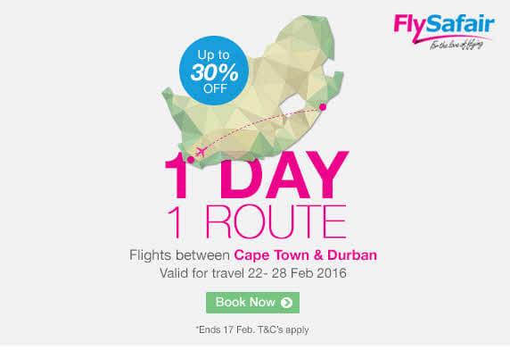 Fly Safair Sale - Cape Town to Durban