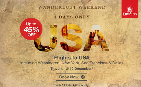 Emirates International Special - Flights to USA - February 2016