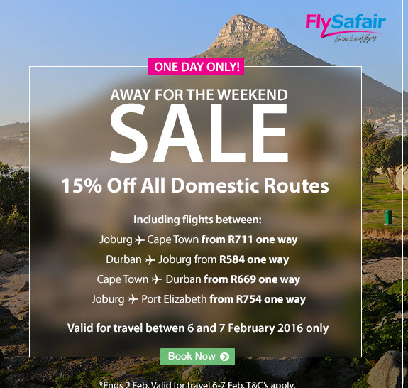 Fly Safair Sale - Flights on Special