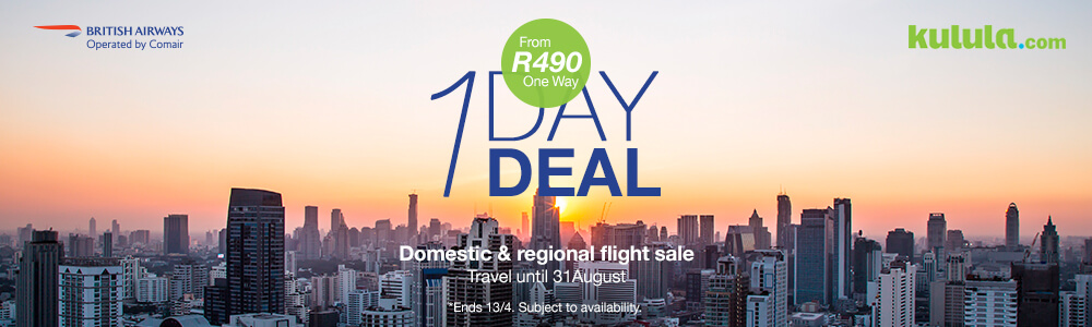 Kulula One Day Sale - Flights from R499