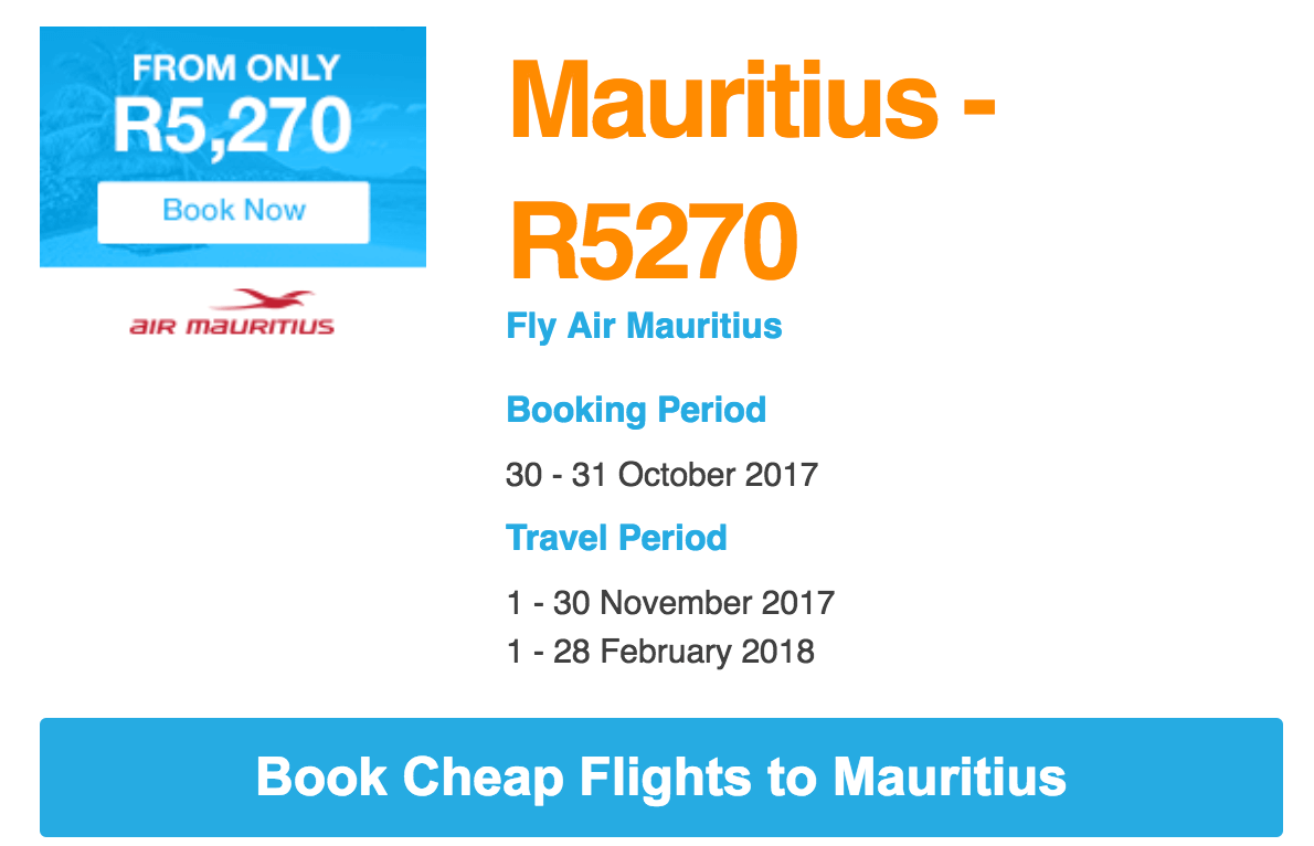 Fly to Mauritius