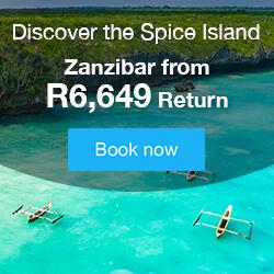 Fly to Zanzibar for R6,649
